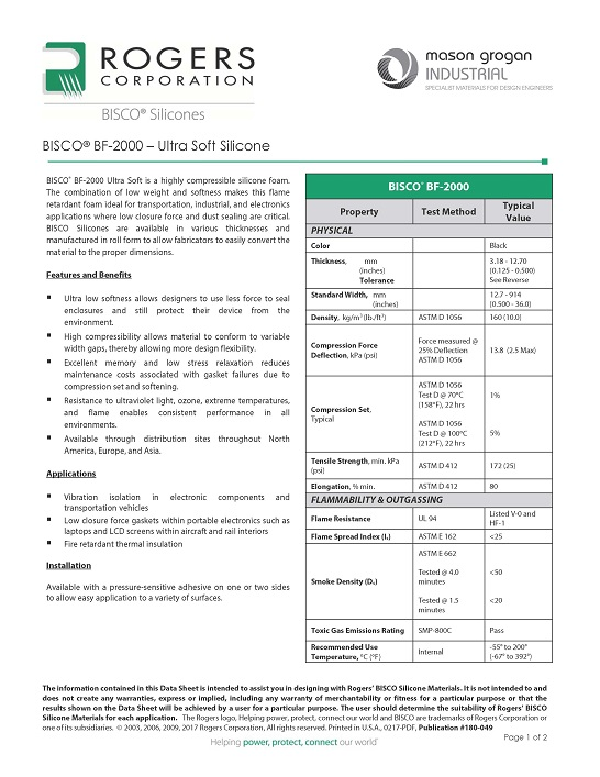 BISCO® BF-2000 – Ultra Soft Silicone Data Sheet