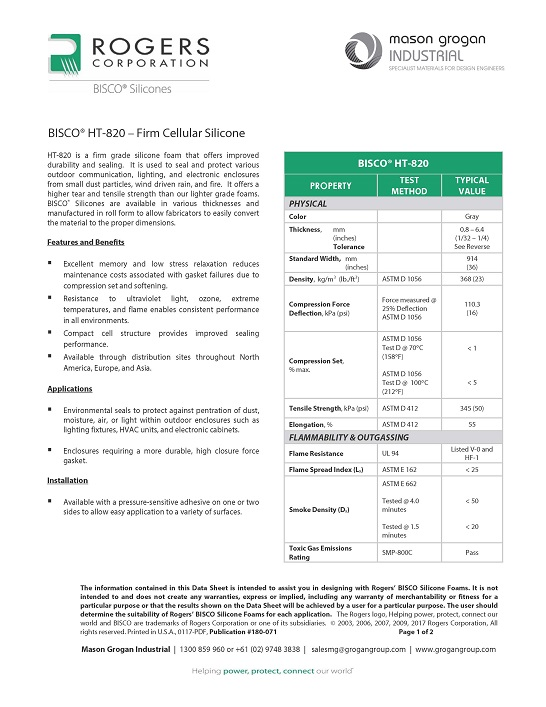 BISCO® HT-820 – Firm Cellular Silicone Leaflet