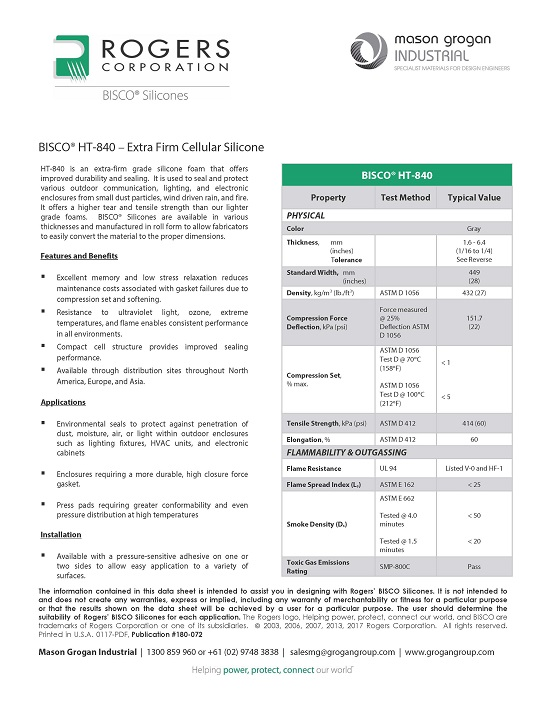 BISCO® HT-840 – Extra Firm Cellular Silicone Data Sheet