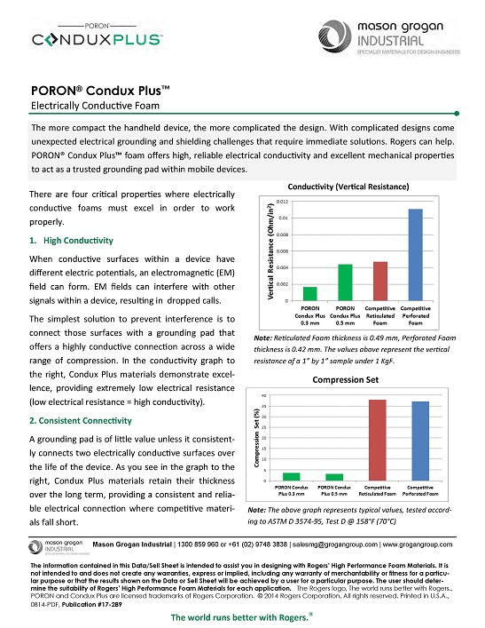 PORON® Condux Plus Electrically Conductive Foam Data Sheet