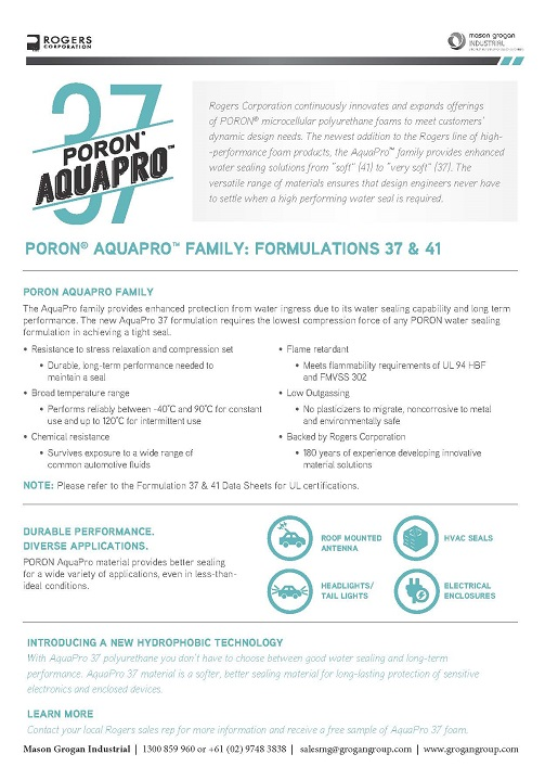 PORON® AquaPro™ 37 Info Sheet