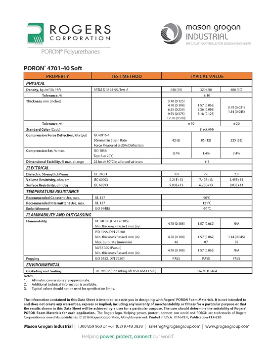 PORON® 4701-40 Soft Global Standards Data Sheet
