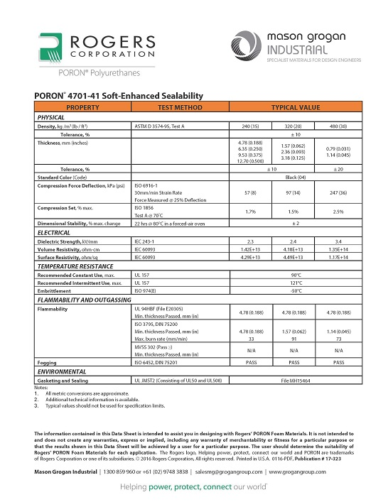PORON® 4701-41 Soft-Enhanced Sealability Global Standards Data-Sheet