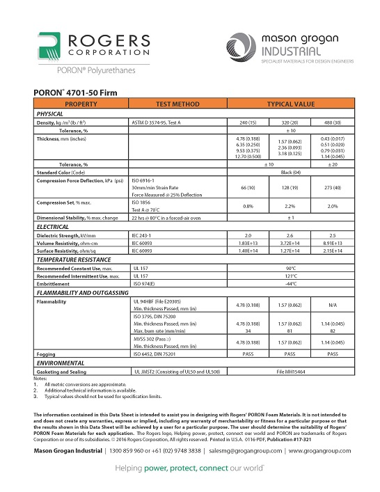 PORON® 4701-50 Firm Global Standards Data-Sheet