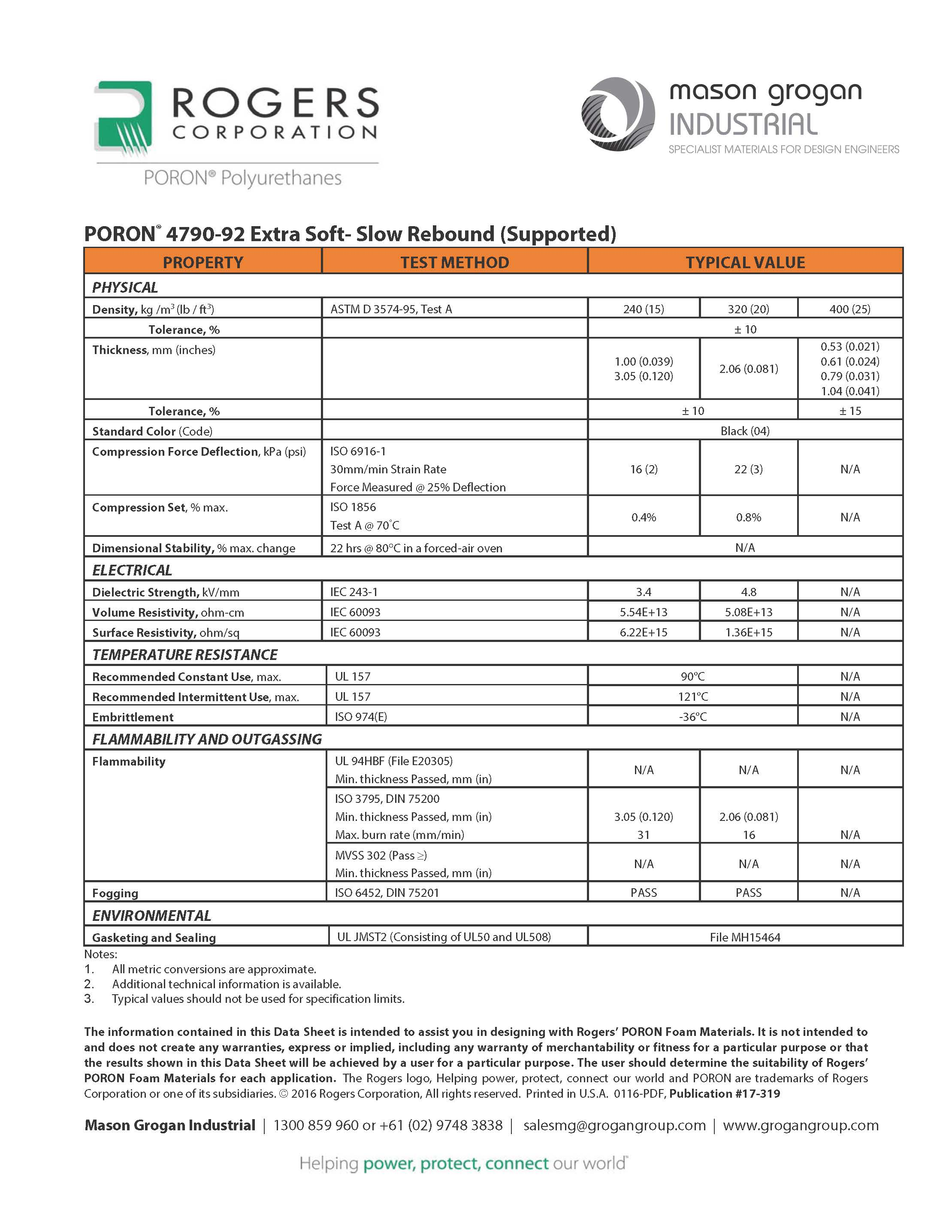 PORON® 4790-92 Extra-Soft Slow-Rebound Supported Global Standards Data Sheet
