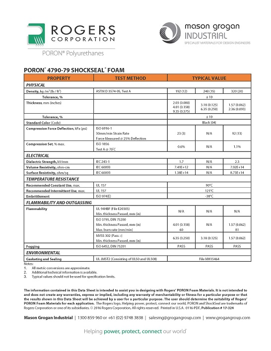 PORON® 4790-79 ShockSeal® Foams Global Standards Data Sheet
