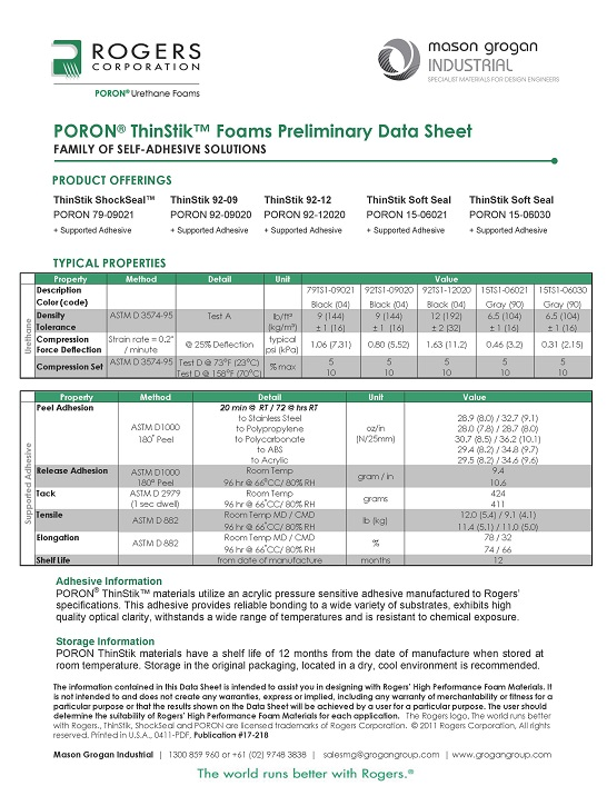 PORON® ThinStik™ Materials Data Sheet