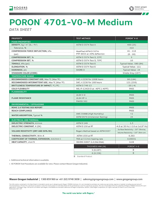 PORON® 4701-V0-M Medium Data Sheet