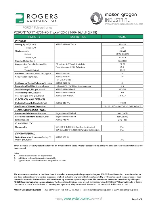 PORON® VXT™ 4701-70-11 (LR18) Data Sheet