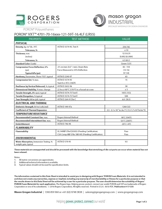 PORON® VXT™ 4701-70-16 (LR55) Data Sheet