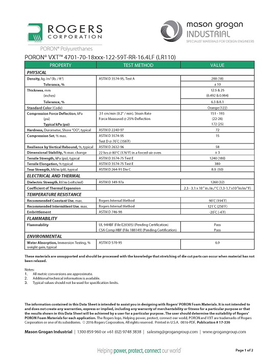 PORON® VXT™ 4701-70-18 (LR110) Data Sheet