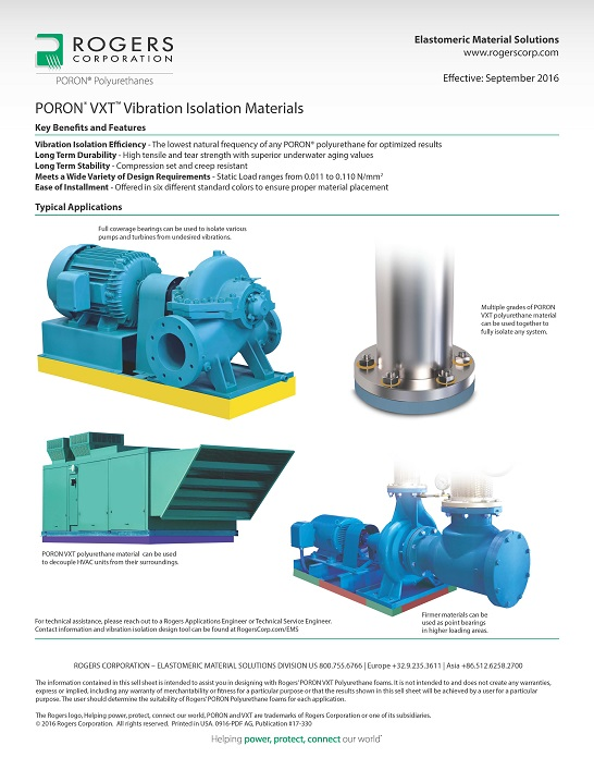 PORON® VXT™ Vibration Isolation Materials Info Sheet