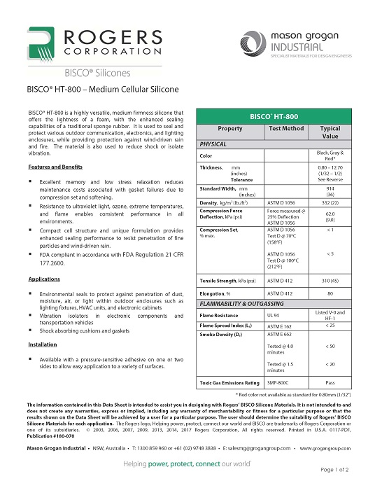 BISCO® HT-800 – Medium Cellular Silicone Data Sheet