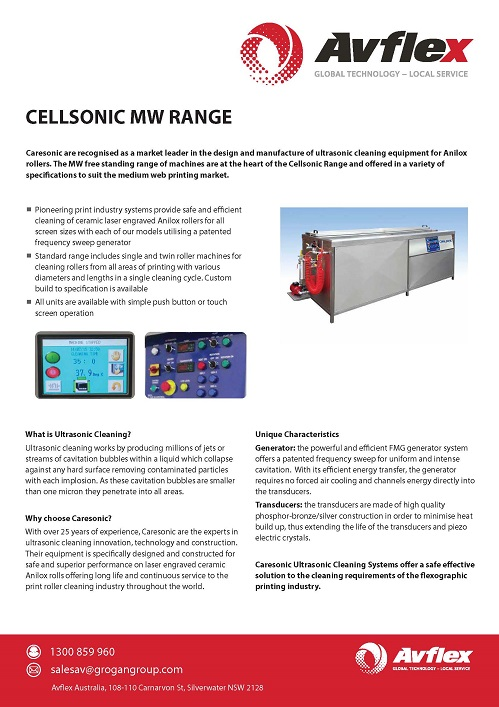 Ultrasonic Cleaning Free Standing Unit MW Range Datasheet