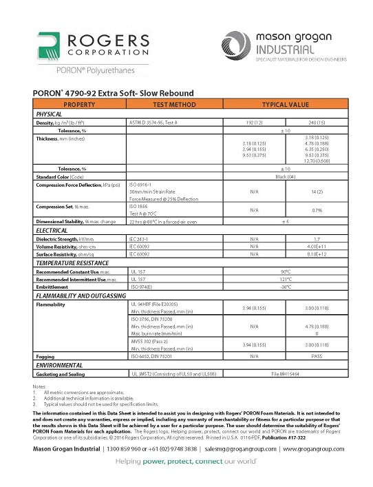 PORON® 4790-92 Extra Soft- Slow Rebound Data Sheet