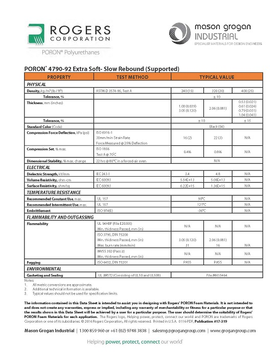 PORON® 4790-92 Extra Soft- Slow Rebound (Supported) Data Sheet
