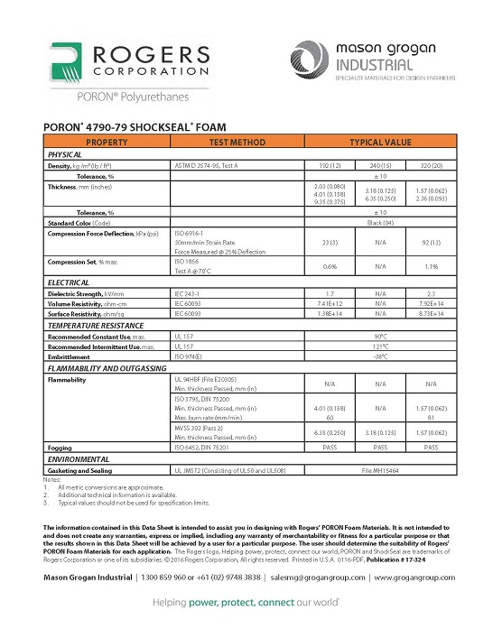 PORON® 4790-79 SHOCKSEAL® Foam Data Sheet
