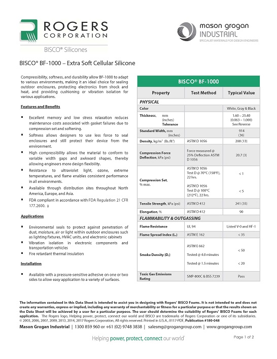 BISCO® BF-1000 – Extra Soft Cellular Silicone Data Sheet